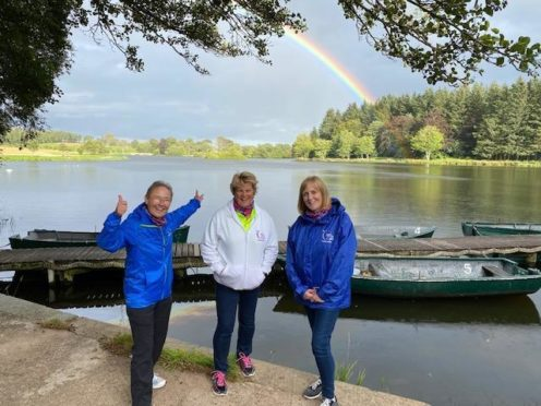 Peterhead Relay For Life committee members Lorraine Coleman (Event Chair), Jackie Stephen (Cancer Awareness Chair) and Joyce Cameron (Vice Chair) at Pitfour Lake.