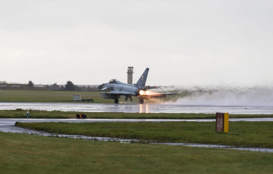 Typhoon launching from Leuchars