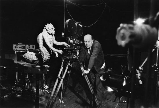 Ray Harryhausen on set with model of the Kraken from Clash of the Titans, c.1980. © The Ray and Diana Harryhausen Foundation.