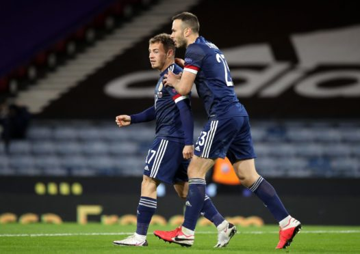 Ryan Fraser celebrates scoring  against the Czech Republic with team-mate Andrew Considine.