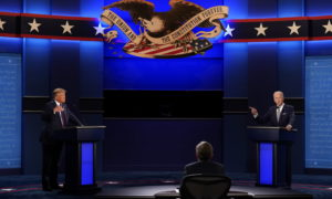 SHOWDOWN: Donald Trump, left, and challenger Joe Biden face each other in the now notorious first televised presidential debate.