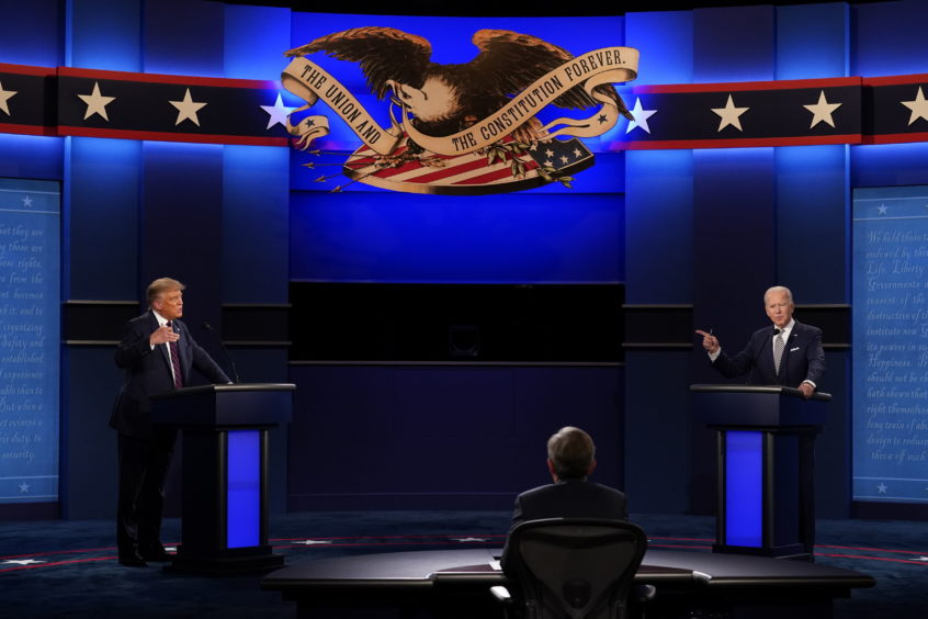Donald Trump, left, and Joe Biden face each other in the now notorious first televised presidential debate.