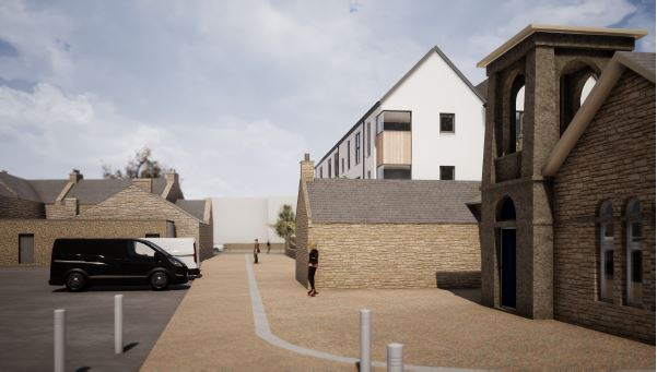 Visualisation for the proposed CAB office with flats above in King Street Nairn