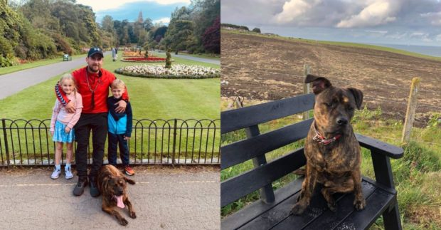 Keir Williams, son Keir, step-daughter Heidi and Rosie on a day out in Seaton Park, Aberdeen.