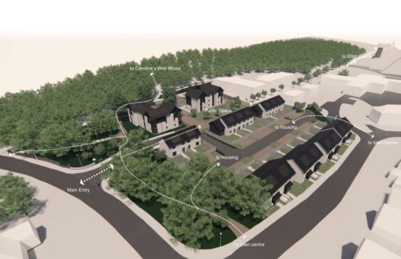 An artist's impression by Aberdeenshire Council of plans for 40 affordable homes on the former Ellon Academy site, with Caroline's Well Wood adjacent.