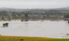 Flooding at the River Don north of Kintore during Storm Alex