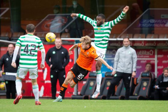 Kieran Freeman in action for Dundee United against Celtic