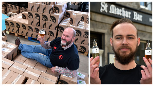 Denis Garden at the Six Degrees North Brewery, with boxes of beer ready for delivery, left, photograph by Chris Sumner. Darren Murray, right, with some of the St Machar Bar's at-home whisky tasting bottles. Photograph by Kenny Elrick.