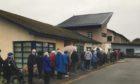Queues outside Invergordon Hospital.