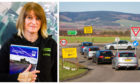 Jill Fotheringham, Safety campaigner, left, and the notorious Laurencekirk junction on the A90 Aberdeen to Dundee road.