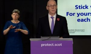 John Swinney at the coronavirus briefing.