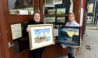 Ainsley Dyga of Broch Businesses Together and Mary Regan of Fraserburgh Arts Group at R&S Dyga's shop on Bridge Street to promote the town's upcoming art trail.  Picture by Jim Irvine