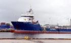 Supply vessel, Ben Nevis at the harbour, Aberdeen.