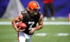 Jamie Gillan in action for the Cleveland Browns.