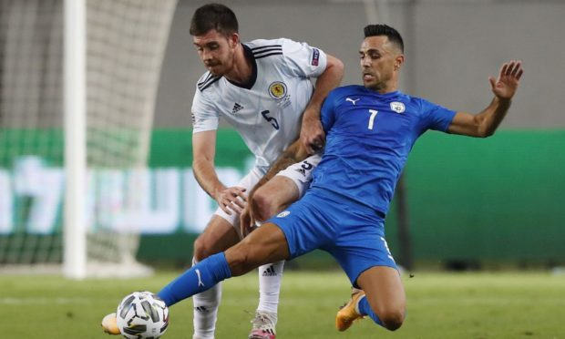 Scotland and Motherwell defender Declan Gallagher, left, in action.