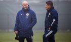 Steve Clarke with assistant coach John Carver.