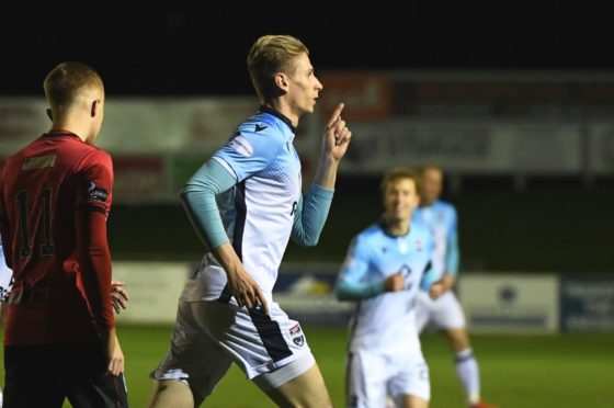 Oli Shaw celebrating for the Staggies.