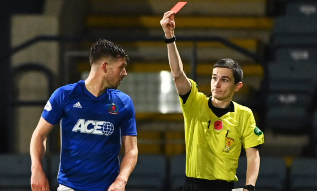 Jamie Masson is sent off by Craig Napier in Cove's defeat to Dundee.