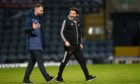 Paul Hartley with Dundee manager James McPake.