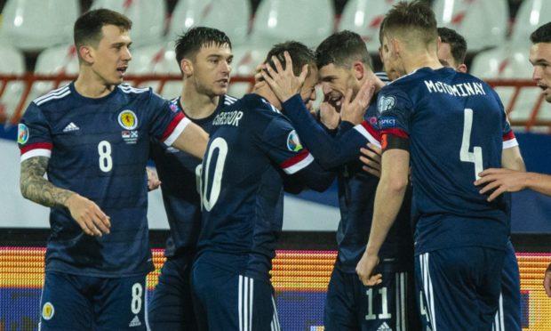 Ryan Christie celebrates his goal for Scotland in Serbia.