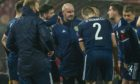 Scotland manager Steve Clarke speaks to his players during the UEFA Euro 2020 qualifier against Serbia.
