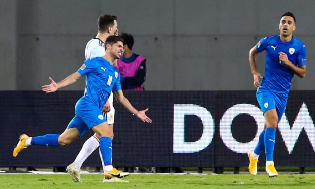 Manor Solomon celebrates the only goal of the game in Netanya.