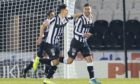 St Mirren's Ilkay Durmus (R) celebrates after scoring to make it 1-0 during the Betfred Cup match between St Mirren and Aberdeen.