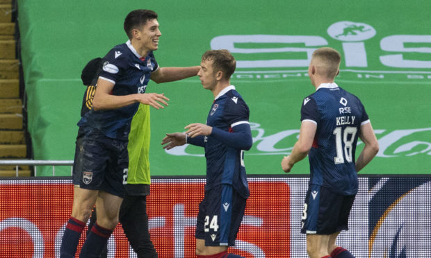 Ross Stewart celebrates his goal for Ross County at Parkhead.