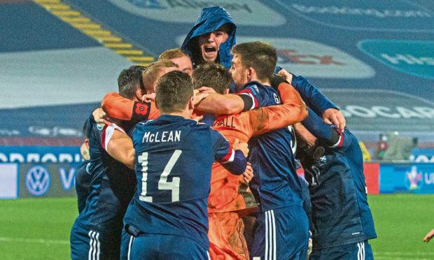 Scotland celebrate qualifying for Euro 2020.