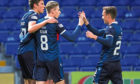 Ross County's Oli Shaw celebrates his goal against Stirling Albion with team-mates.