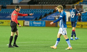 Referee Colin Steven awards a penalty to Kilmarnock during their win over Ross County.