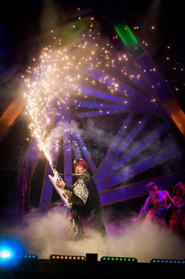 Jimmy Osmond at the heart of spectacular effects in Aladdin.