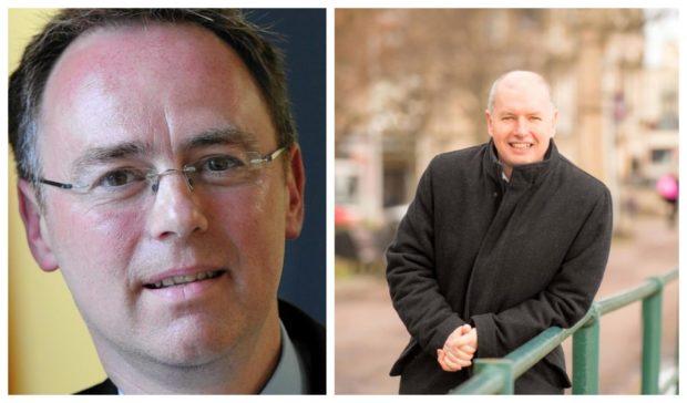 L-R: Alasdair Allan and Professor Conchúr Ó Giollagáin.