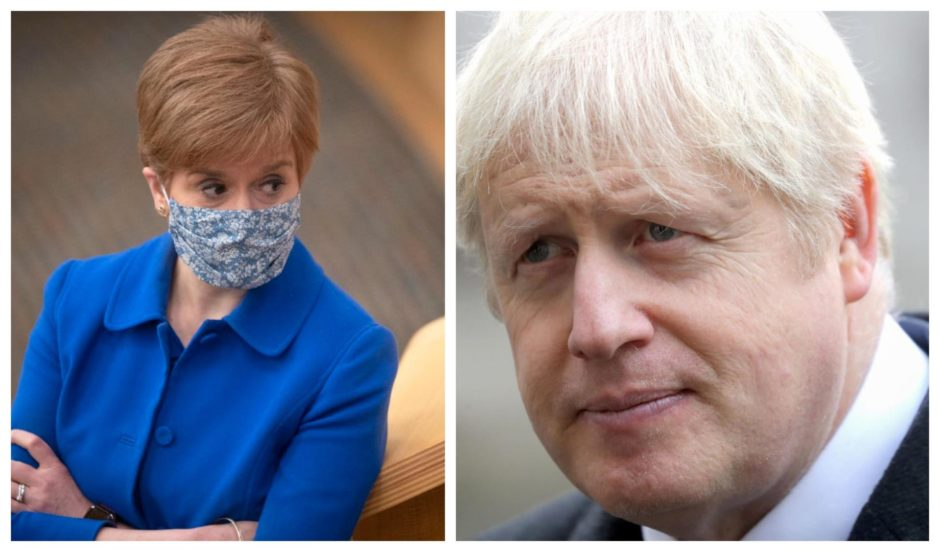 Nicola Sturgeon and Boris Johnson.