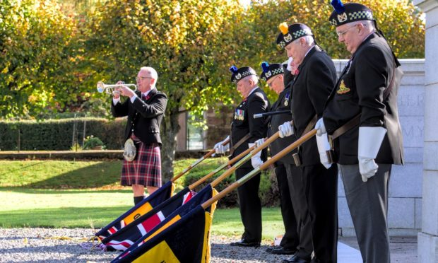 A small group of veterans gathered to hold a socially distanced Remembrance Day ceremony at Banchory War Memorial