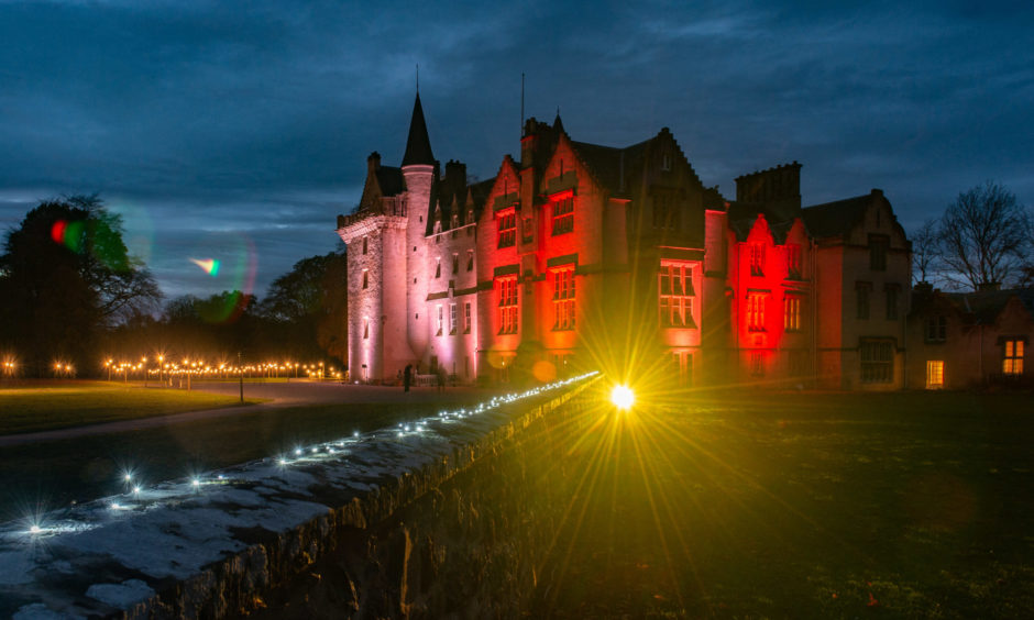 Brodie Castle is lit up with a light show
