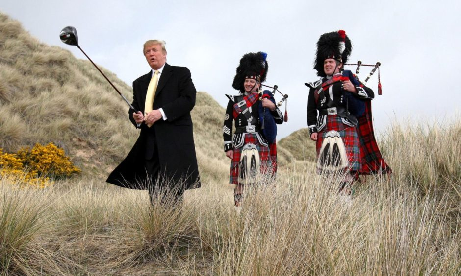 Donald Trump visiting the Menie Estate in 2010.