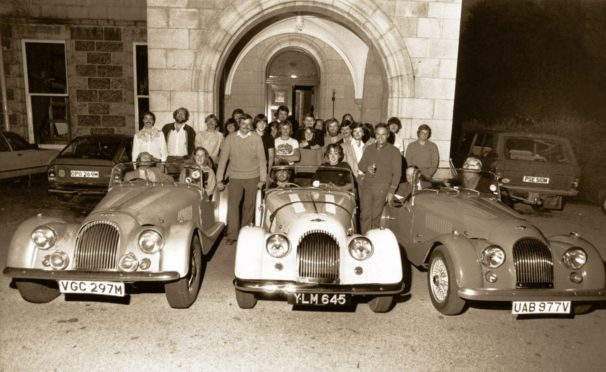 Ardoe House Hotel hosted countless events, including a meeting of the Aberdeen Sports Car Club  in 1980. In the centre is a 1959 Morgan Plus 4  owned by Cameron Mitchell while on the left is Peter Worsfold's 1974 Morgan Plus 8. The other is a brand new Morgan 4/4 owned by James Anderson.