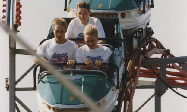 Fun on a rollercoaster in July 1994.