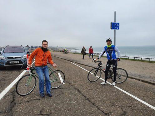 Gavin Clark and Colin Allanach at Aberdeen beach esplanade.