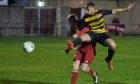 Paul Brindle scores Brora's third goal in the victory against Deveronvale