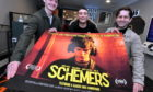 Arc Cinema in Peterhead last night showcased a new Scottish film called Schemers, which was shot in Dundee. Cast members, from left Conor Berry cor, Sean Connor cor and Grant R Keelan attended the evening. Pic by Chris Sumner
