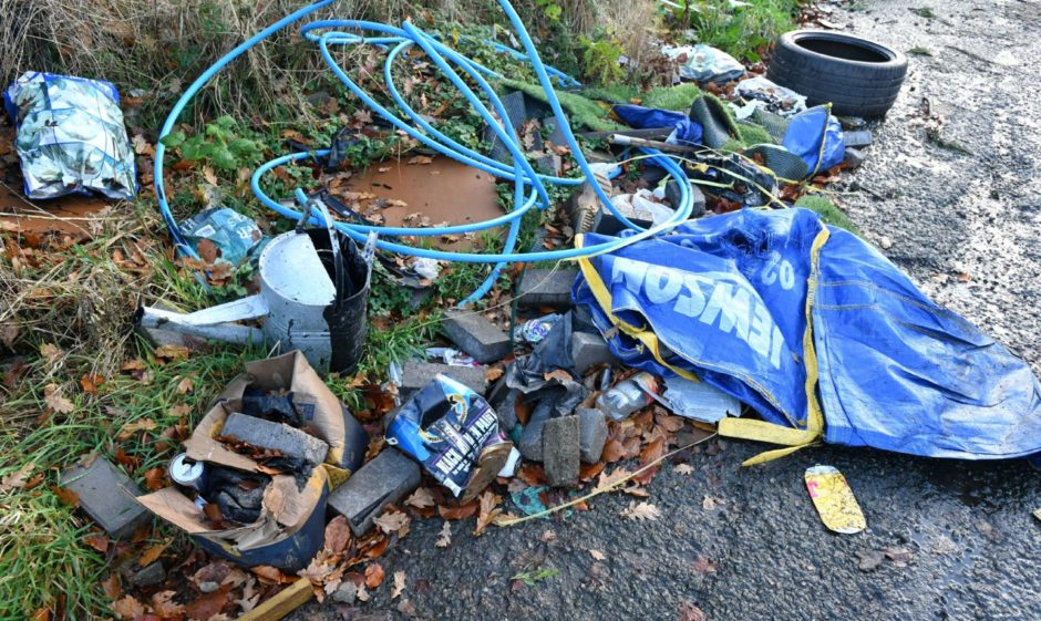 Some of the rubbish left in the layby