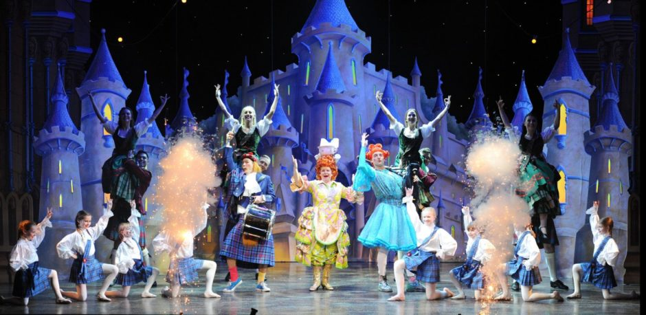 Elaine C Smith, Alan McHugh, Jordan Young and the company in Beauty And The Beast during its 2014 outing.
