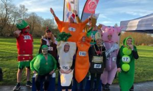 Ellon Jog Scotland dressed up as a Christmas dinner at last years event.