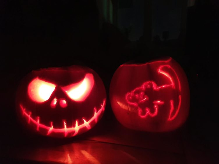 Jack Skeleton and Simba pumpkin carvings. Supplied by Jessica Murphy