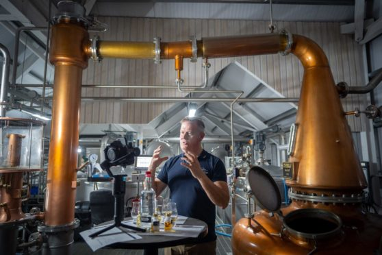 Isle of Raasay Distillery co-founder Alasdair Day giving one of his virtual tours  Pic submitted by Isle of Raasay Dstillery