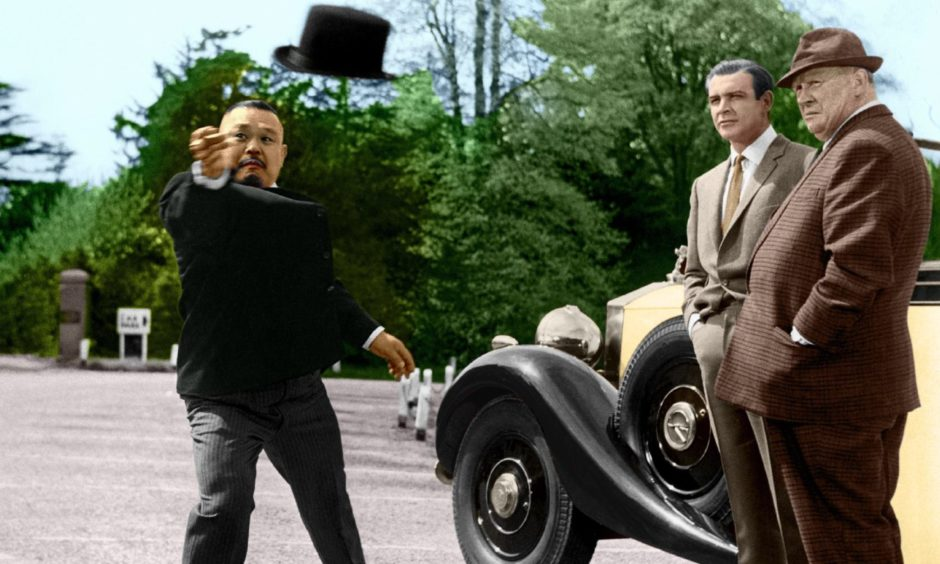 An iconic scene from Goldfinger... the film that inspired Ronnie Watt into a lifetime of karate.