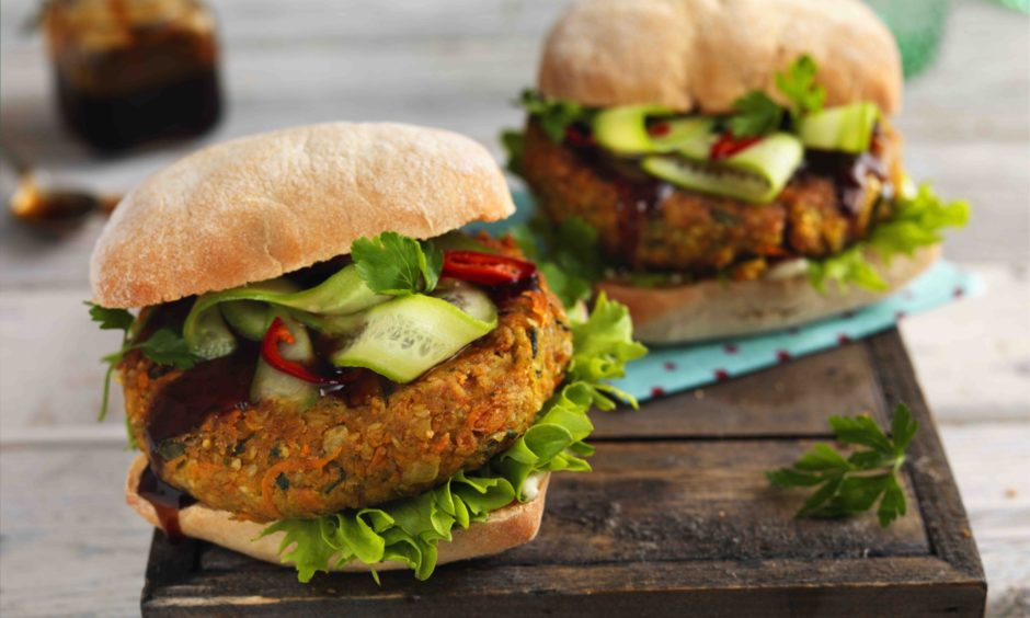 Carrot and chickpea burgers.