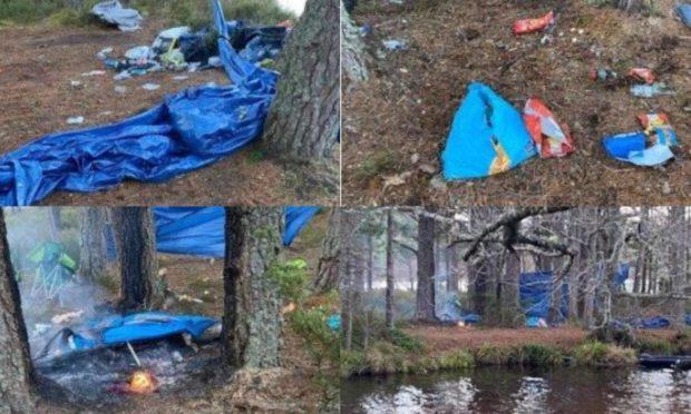 Wild campers left a mess behind at Loch Morlich